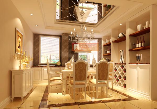 餐厅的设计:白色为主色调,镜面的吊顶,让餐厅的整个空间更加宽阔,简易的白色酒柜,放上几瓶酒以及几个艺术花瓶来体现属于自己的精致生活。