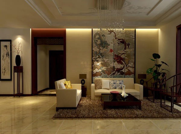 居室运用大量的实木和少许青砖,并用实木条做背景,透而不通的空间体现磅礴气势。