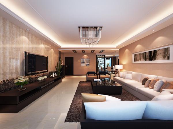 温馨、大气的客厅里,简约、优雅的线条使空间带给人开阔、舒适的视觉享受。