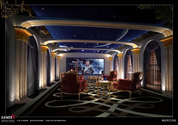 名雕丹迪设计——视听室:中宫廷式的庄重与星空般的浪漫相互碰撞,扩散出无穷无尽的想象空间。