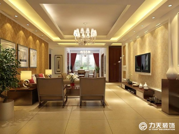 客厅电视背景墙采用石膏板做造型,沙发背景墙采用时尚照片尽显简单时尚。
