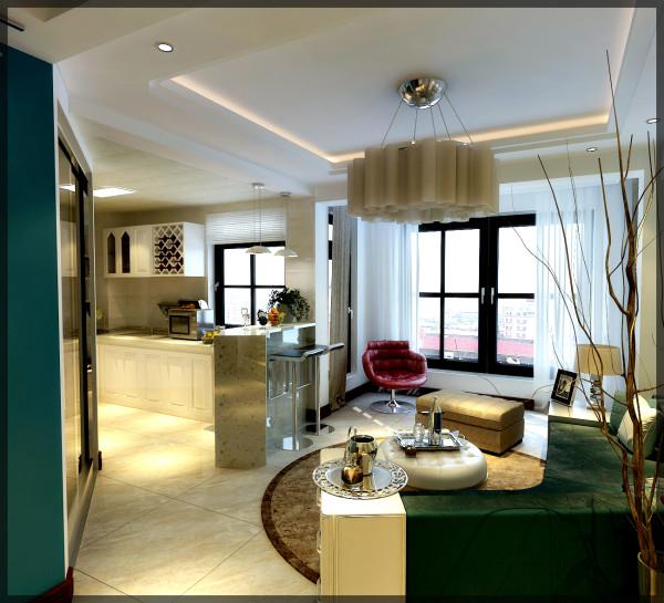 设计巧妙利用45度放大术,沿着墙壁的V型沙发,使每个不同的角落像施了魔法般,巧妙的融合在一起
