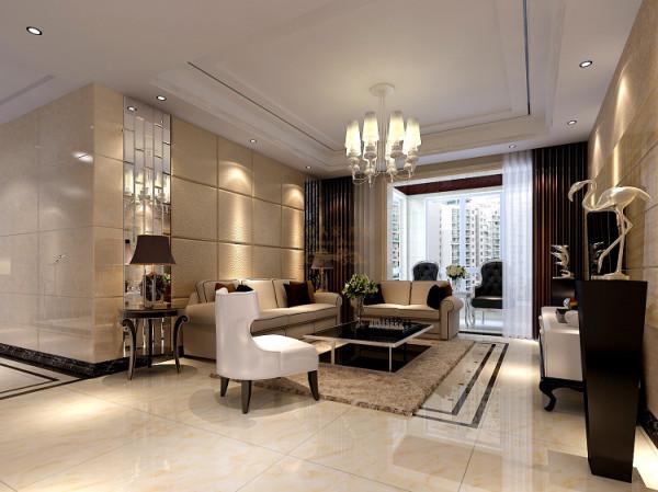 """客厅天花的镜面线条与地面墙面相互相应,打破以往简单直线吊顶的沉闷,加之沙发背景墙的方型镜面软包造型更使空间锦上添花,完美的略显花哨的""""异国度""""。"""