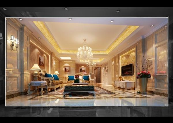 名雕装饰设计——客厅:以米黄色为主色调,灯具,家私布置让整个客厅雍容华贵。
