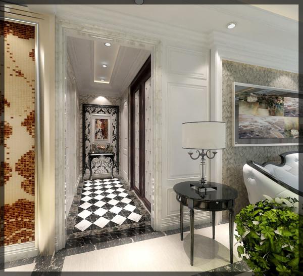 大面采用马可波罗微晶石,过廊局部地面宽边拼花的运用更进一步的使豪宅的区域性进行合理分化,微晶石以其超高的硬度以独特自然纹理彰显主人贵气奢华气度。