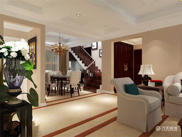 美式风格为主线。房间内墙面以咖色乳胶漆为主