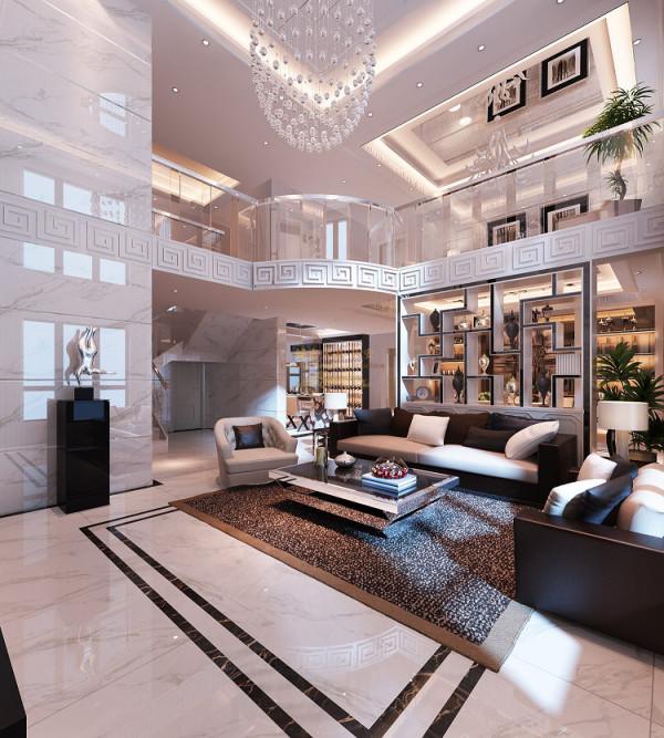 高贵、大气的客厅里,简约、优雅的线条使空间带给人开阔、舒适的视觉享受。