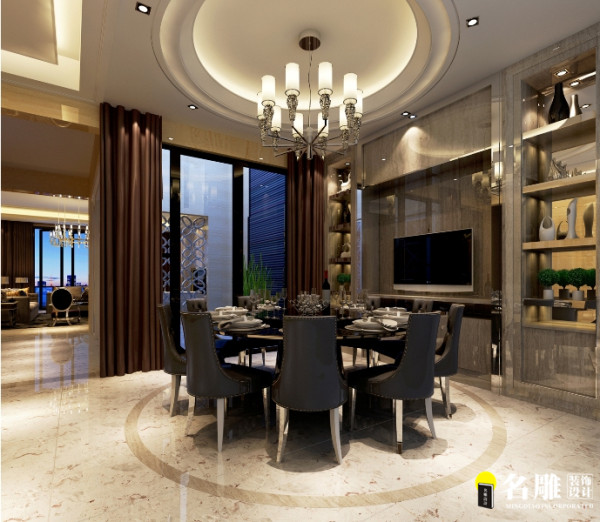 名雕设计——餐厅:擁有圓形尊貴的餐廳更顯氣派,整個牆面的法国木纹灰大理石酒柜。餐廳後方的廚房,滿足中、西廚的不同需求。