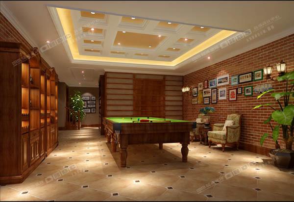 一层休闲室为了体现风格特点,采用了仿古瓷砖和瓷砖上墙以及休闲吊顶。