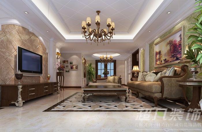 绿地老街130平米三室两厅欧式风格装修效果图
