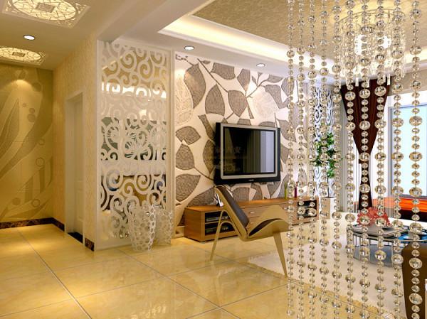 电视背景墙及餐厅背景墙的设计也不能过于杂乱,目的增加大厅的空间感和空间的整体搭配,如此不会显得太过于平庸。