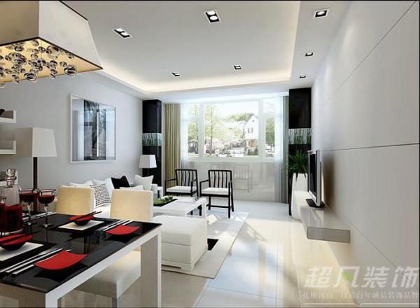 水岸鑫城90平米现代风格挑空复式装修效果图案例