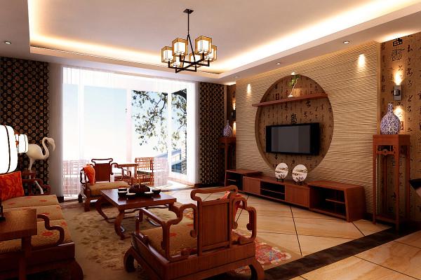 客厅地面黄色复古瓷砖斜铺褐色复古砖圈边处理会把空间扩大的感觉体现出来。圆形的电视背景墙很有中国风的感觉