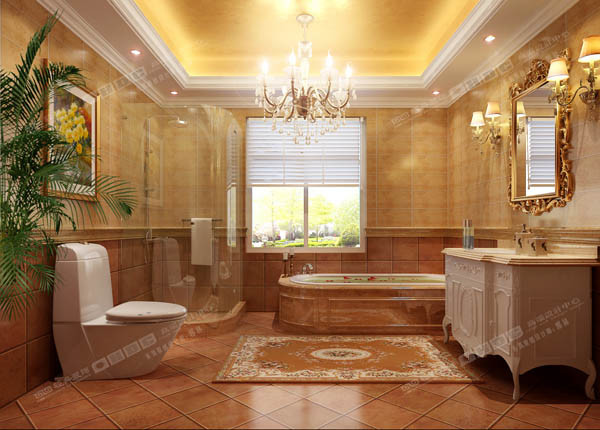 主卫生间做了防水石膏板和防水涂料然后贴了金箔纸,用了长古瓷砖,设计了浴缸和淋浴房。