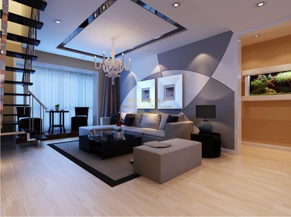 墙面采用大块的色彩装饰,增强立体感的效果。