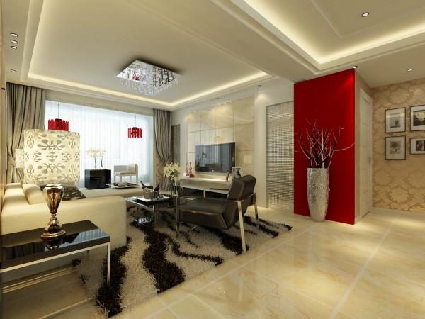 客厅:吊顶采用的是回字形方顶,墙面全部贴壁纸,石膏板造型结合金属马赛克利用砖上墙的造型使整体现代感增墙。