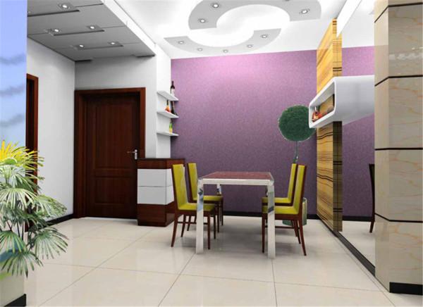 客厅沙发背景墙以紫色纹理壁纸为底,用简单地几何线条做衬托,配以画框做点缀,将顶面与地面完美结合。阳光从窗外洒入,让室内空间更加通透敞亮。