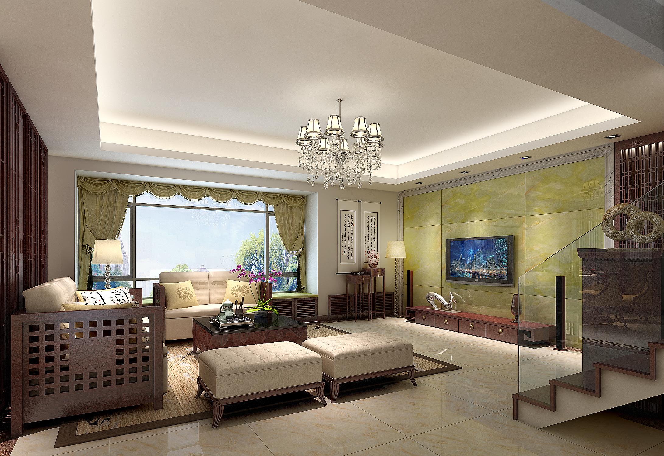 绿玉石做电视背景墙,中式字画,简洁的木格镂空屏风图片