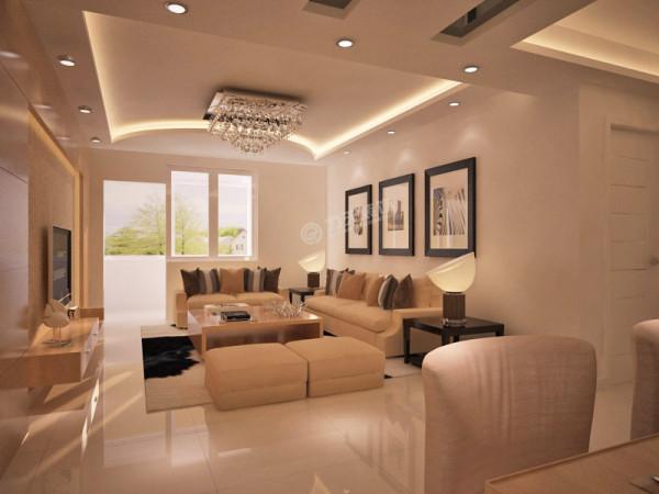 客厅格局方正,空间宽大,特别适合宾客欢聚,超大宽景阳台,视野开阔。