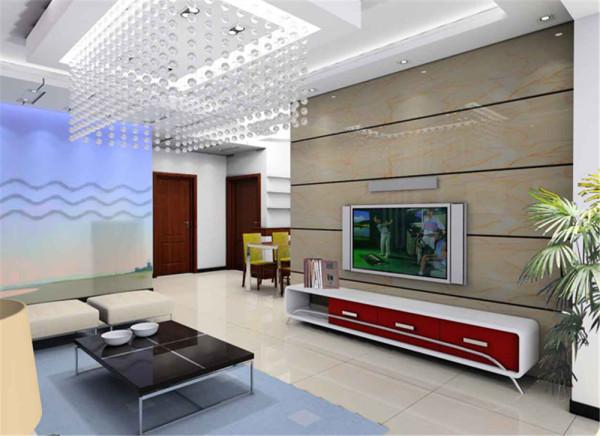 用理石纹理拼装加以黑色线条的衬托,不仅表现出流动的感觉而且使电视背景墙与其他公共空间完美结合。用现代感强烈的烤漆电视柜陪衬,简单明快,增加空间流动性。