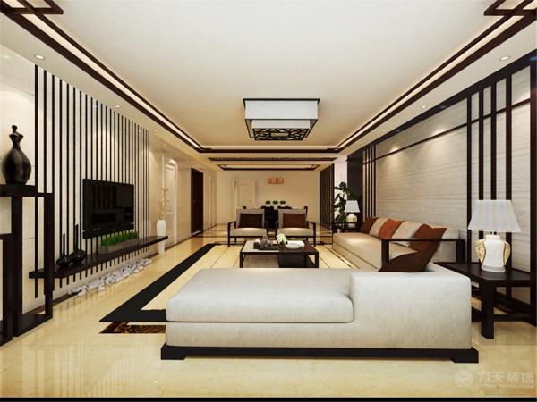 电视背景墙采用的是石材和黑色烤漆玻璃的当代设计来突出了新中式的风格韵味,客厅沙发背景墙运用木质配合麻纸来搭配,用最简单的线条来诠释东方韵味。