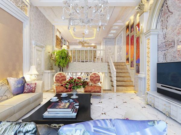 客厅:通过柱子描金和大理石拼花使客厅整体效果很有气场,地面采用波打线和拼花,对角把区域划分的很明确。