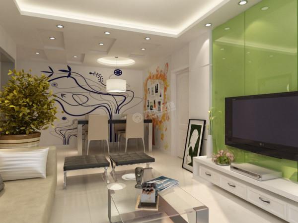 餐区背景墙采用了手绘墙的设计手法