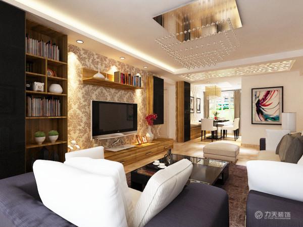 客厅电视背景墙同壁纸进行装饰,同时配以不同的柜子和木质隔板,可以收纳物品,还有物品展示的美感。
