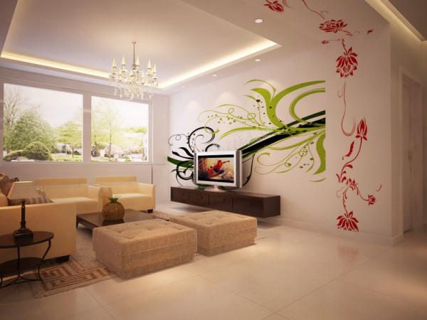 温馨大气,电视背景墙采用手绘方法