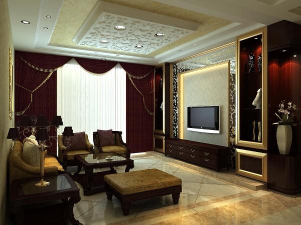 客厅色调就是高贵的紫色为主,咋一看有点沉重之气,仔细看细节品味下,雍容华贵之气尽显。电视背景墙光面镜的处理,大气内敛。