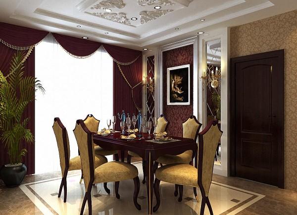 餐厅车边境的设计,增添了空间感;高贵的紫色壁纸和窗帘,显得客厅非常典雅华贵;餐桌色调跟整个高贵的紫色呼应,细节处尽显张扬之气。