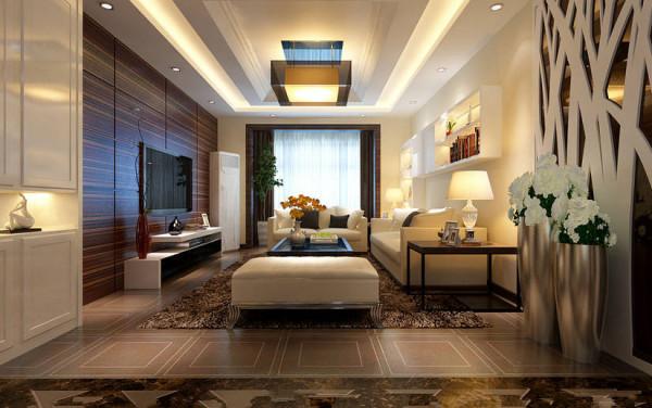 客厅电视墙采用了略显高贵的黑檀木线条,把卧室门做了隐形处理,像一幅整幅画作,增加了客厅的感染力;延长了电视墙的同时,巧妙的美化了户型;
