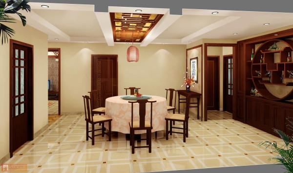 餐厅:用圆桌来提现古典气息,色彩明亮