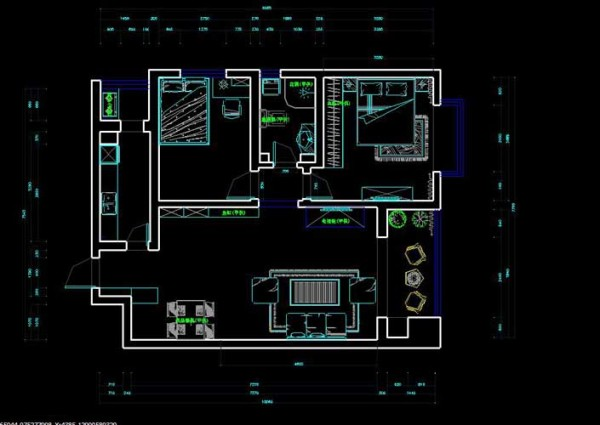户型说明     本案为90平米的两室两厅一卫,房间布局紧凑,基本没有浪费的地方。设备平台可以兼储物空间的使用,比较经济并且布局基本合理。在设计上着重考虑到了户型的特点。为此案做出类完美的设计方案。