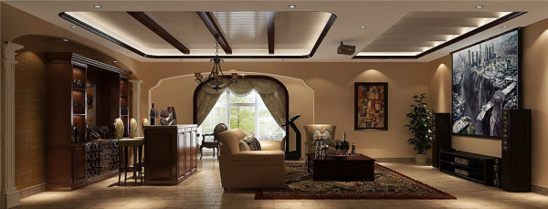 本业主把地下室设为休闲娱乐之地,棕色吧台、酒柜和壁挂电视既可以作为日常休息之地,也可以作为聚会娱乐场所!