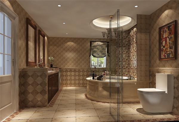整个卫生间造型比较独特、个性化,圆形浴室设计、独特梳妆台的设计再配 以花纹地砖拼花使这个卫生间充满了艺术之感!
