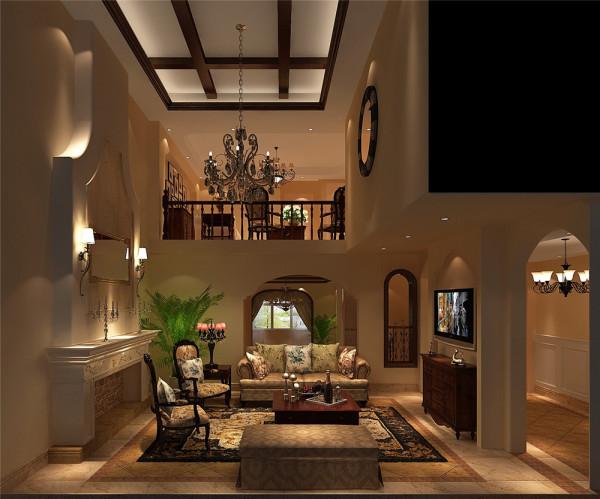 客厅二层调控,再加上墙体造型设计给人带来宽敞立体之感,拱形墙柱、门窗再加 上木质橱柜和桌椅尽显大气、尊贵之感!