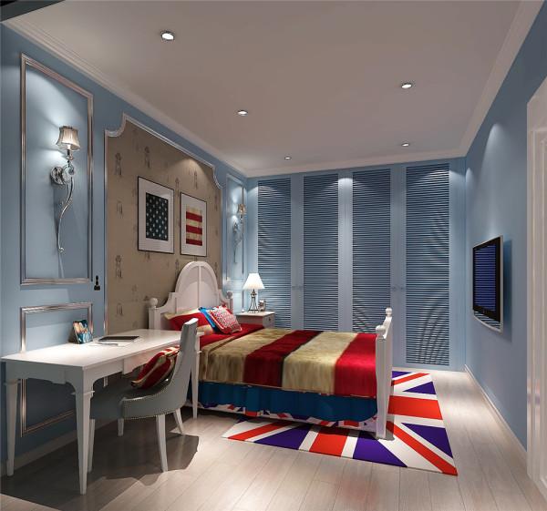 房间以蓝色和白色为主,蓝色给人自然的温馨之感,外加简单照片墙又不失主人品味之气。