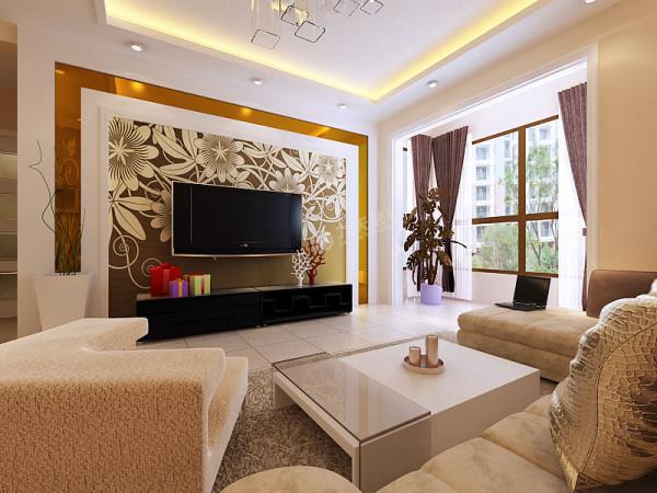 休闲客厅整体格局较大  影视墙 大小适中