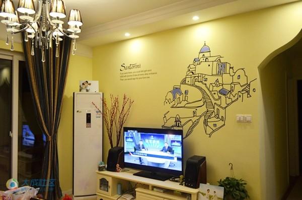 简单电视墙、手绘。