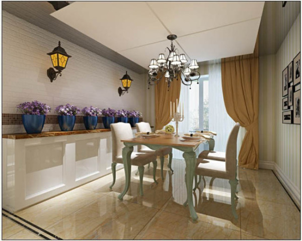 餐厅色调与客厅相一致,淡绿色的餐桌,大地色地砖,壁灯和古典吊灯是典型欧式风格的元素。竖条白绿相间的壁纸为空间更添活泼感。