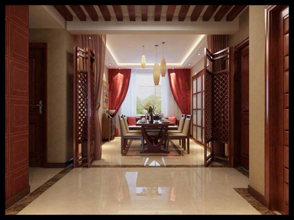 以木质这扇门和地砖划分客厅和餐厅空间,木质与皮质的餐桌餐椅在色调上与地面协调一致,红色的窗帘起到了活跃空间色彩的作用。