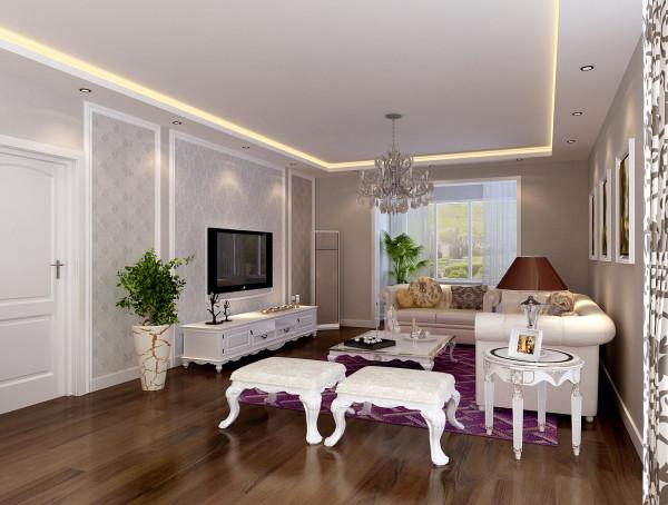 客厅 32平简欧风格客厅 设计理念:整个客厅的空间大胆的运用了灰色基底的壁纸,加上电视墙运用的灰蓝色壁纸配以自然光线,使整个空间有了一种凉爽、清净的感觉。