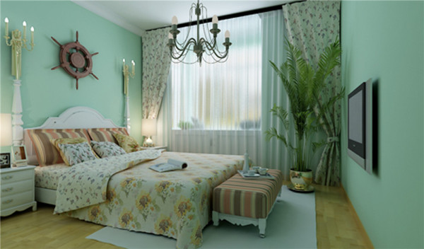 小清新 亮点:干净的纯色墙面,原木色的地板,壁灯,船舵,体现了业主内心小女生的气质
