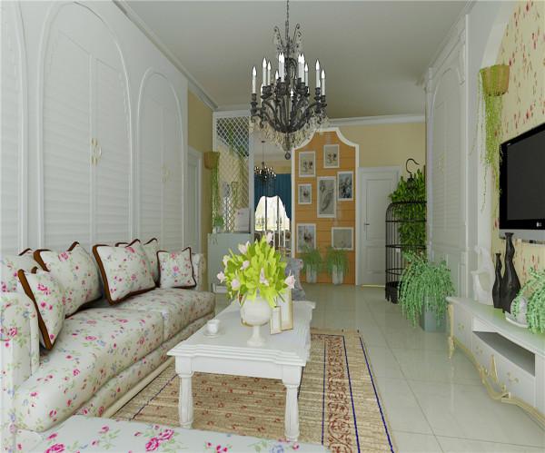回归自然,鸟语花香 亮点:客厅的电视背景墙和沙发背景墙运用了百叶窗、罗马柱和小碎花、绿植,让业主坐在沙发上就可以感受到在室外花园里一样