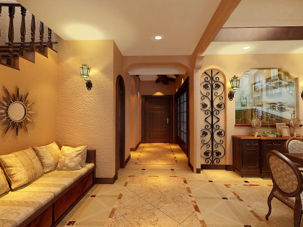 走廊:地面铺贴了仿古地转,凸显了空间的大气、高贵之感。顶面采用美式风格的实木吊顶设计,是设计中局部空间的一大亮点。