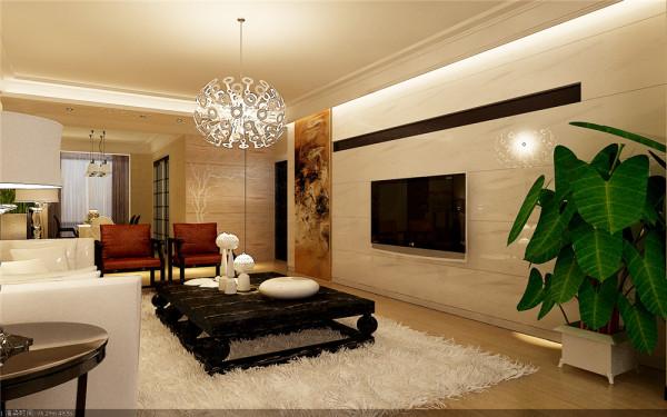 电视背景墙选用洁净高雅爵士白大理石整面铺贴。来展现中国古人高洁的气质。墙面选用中灰色浅纹欧式壁纸加以烘托。