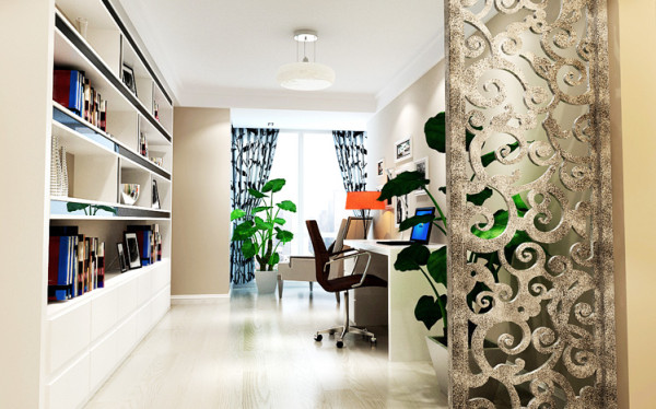素雅的色调让书房显得格外宁静,而整体书柜不但提供了强大的存储、展示空间,还显时尚大方;整体色调干净却不单调。