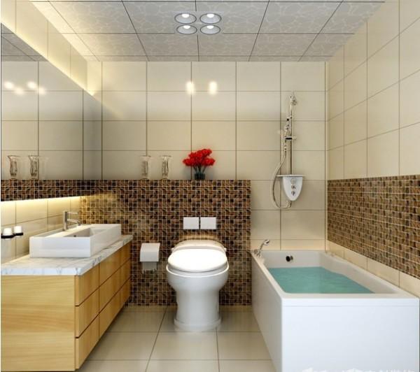 。棕色细碎花纹的瓷砖在大范围浅色背景中成为了比例适当的装饰,石英石的洗漱台面防水耐磨,木质的收纳柜朴素清新,让人步入其中就能自然而然地放松身心。