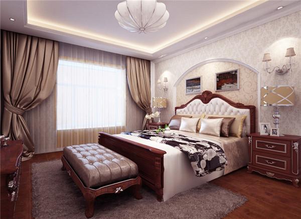 卧式的床头背景墙为了呼应美式的主题。用白色石膏板做的拱形造型,使欧美式风格完美展现。